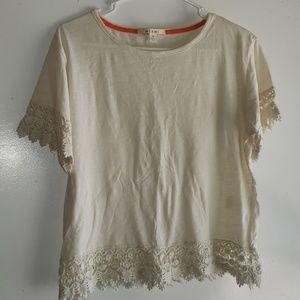 Creamy White - •Mi Ami•   Crocheted - Lace Tee
